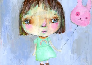 girl with a bunny balloon